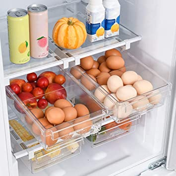 Fridge Small Drawer Pull Out Fridge Drawer Organizers Fridge Shelf Holder Storage Box HapiLeap Refrigerator Organizer Drawer for Eggs