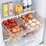 HapiLeap Refrigerator Organizer Drawer for Eggs, Pull Out Fridge Drawer Organizers Fridge Shelf Holder Storage Box (Fridge Sm