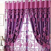 Blackout Lined Curtain Polyester Voile Tulle Room Window Curtain Semi Shade Sheer Rich Flowers Pattern Panel Drapes for Bedroom Living Room Club (98.4*39in Deep purple)