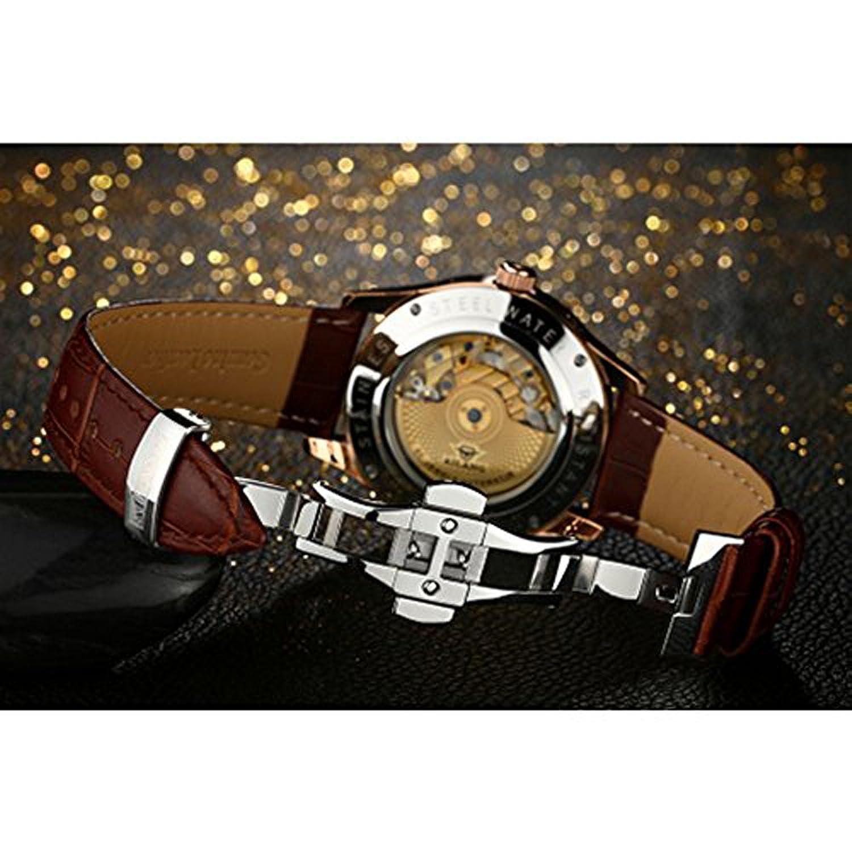 Amazon.com: AILANG Mecánica Relojes de Los Hombres de Cuero Genuino Reloj Calendario Impermeable de Los Hombres Relojes de Primeras Marcas de Lujo Del ...