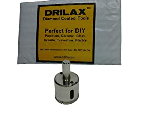 "Drilax 1 1/4 Inch Diamond Hole Saw Drill Bit Tiles, Glass, Fish Tanks, Marble, Granite Countertop, Ceramic, Porcelain, Coated Core Bits Holesaw DIY Kitchen, Bathroom, Shower, Faucet Installation Size 1 1/4"" Inches"