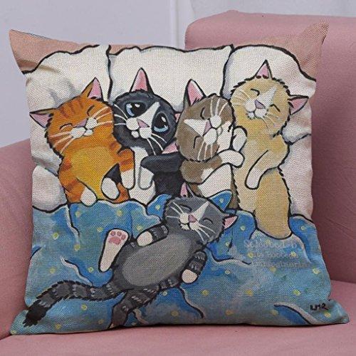 Pillow Case,Bokeley Linen Cotton Square Cute Cat Print Decorative Throw Pillow Case Bed Home Decor Car Sofa Waist Cushion Cover (F)