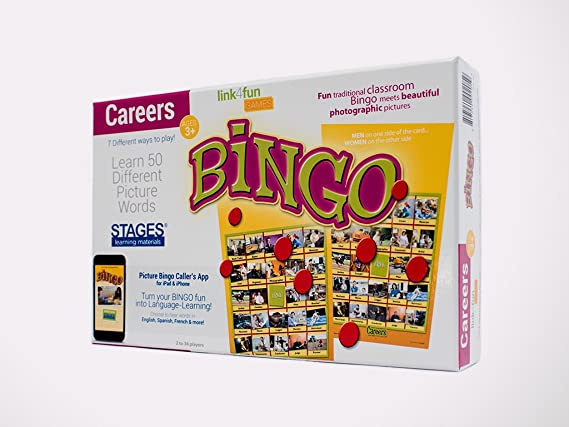 Stages Learning Materials Link4fun Real Photo Careers Bingo Game for Family, Preschool, Kindergarten, and Elementary Education: 36 Picture Cards + App