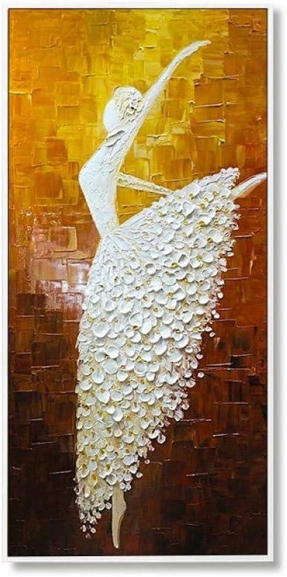 Grande Abstract Home Wall Art Decor E Per Soggiorno Camera Da Letto Office Hotel La Figura Moderna Ritratto Pittura Danza Ballet Girl In Golden Bianco Pittura Ad Olio Dipinto A Mano Su Tela