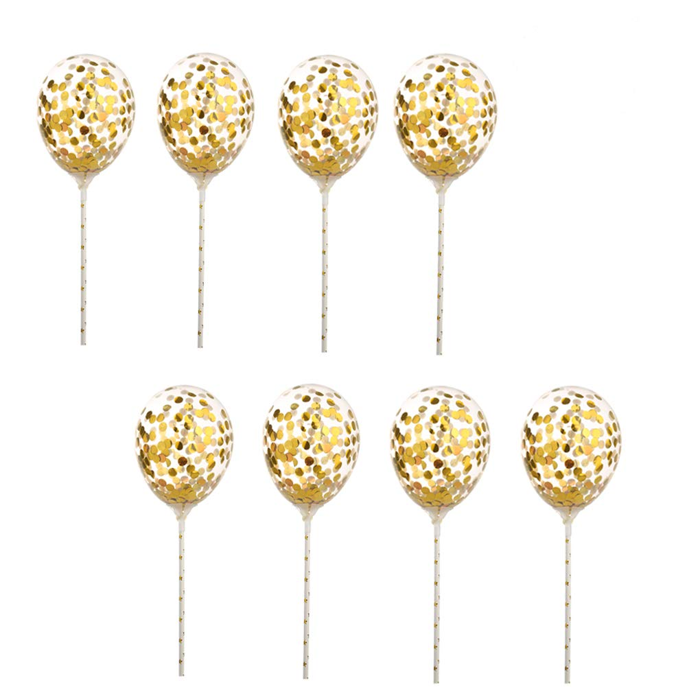 5 inch Gold Confetti Balloons Mini Clear Latex Balloons Birthday Party Cake Topper Decor, 25pc
