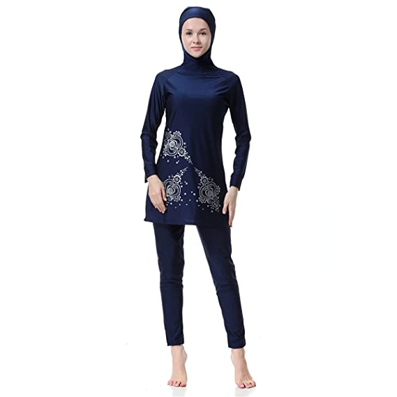 Dreamskull Damen Frauen Muslime Abaya Dubai Muslimische Islamische Burkini Badeanzug Bademode Schwimmanzug Swimwear Swimsuit