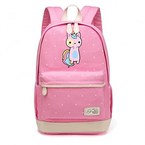Pusheen de gato bolsa de lona Unicorn punto de onda flor Mochilas Mochila para Adolescentes Girls
