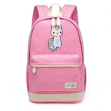 Pusheen de gato bolsa de lona Unicorn punto de onda flor Mochilas Mochila para Adolescentes Girls mujeres escuela viaje mochilas bolsa de hombro color rosa ...