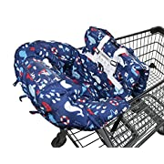 Premium Shopping Cart Cover & High Chair Cover, Universal Size, Harness System, Soft Comfort Cushioning, Protects Against Germs (Blue)
