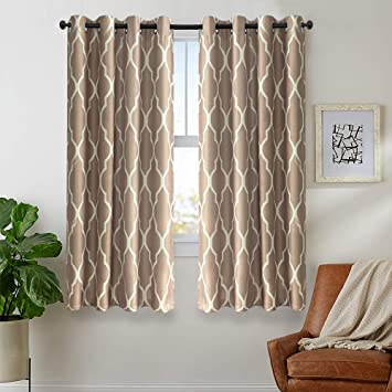 Moroccan Tile Curtains for Living Room Curtains Bedroom Kitchen Linen  Textured Thermal Insulated Window Drapes Grommet Top on Flax 2 Panels 72  inches ...