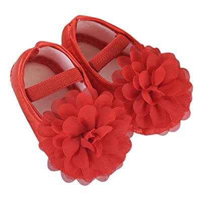 Hot Sale ! Kstare Baby Girl Toddler Infant Chiffon Flower Elastic Band Sole Prewalker Crib Shoes (US:3/12~18 M, Red): Baby