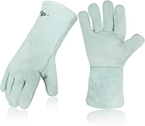 Vgo 1-Pair Cow Split Leather Welding Gloves For Oven, Grill, Fireplace, Stove, Pot Holder, Tig Welder, Mig, BBQ (13.5in, White, CB6501)