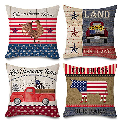Faromily Vintage Wood Patriotic Truck with American Flag Pillow Covers Independence Day Farmhouse Animal Rooster Cotton Linen Throw Pillow Case Cushion Cover 18