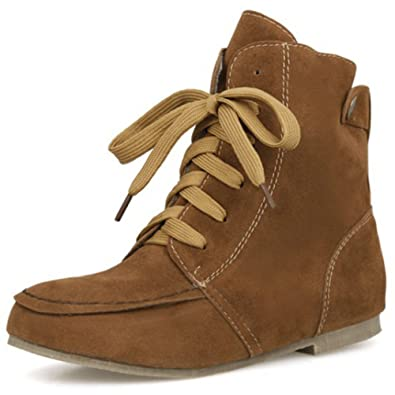 Women's Trendy Faux Suede Round Toe Lace-up Martin Boots Flats Short Ankle Booties Shoes