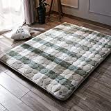 HXYL Tatami Floor Matress Mat,Non-slip Quilted Mattress Pad Protector,Hypoallergenic Cooling Down Alternative Fitted Mattress Pad Plush Antibacterial-C 90x200cm(35x79inch)