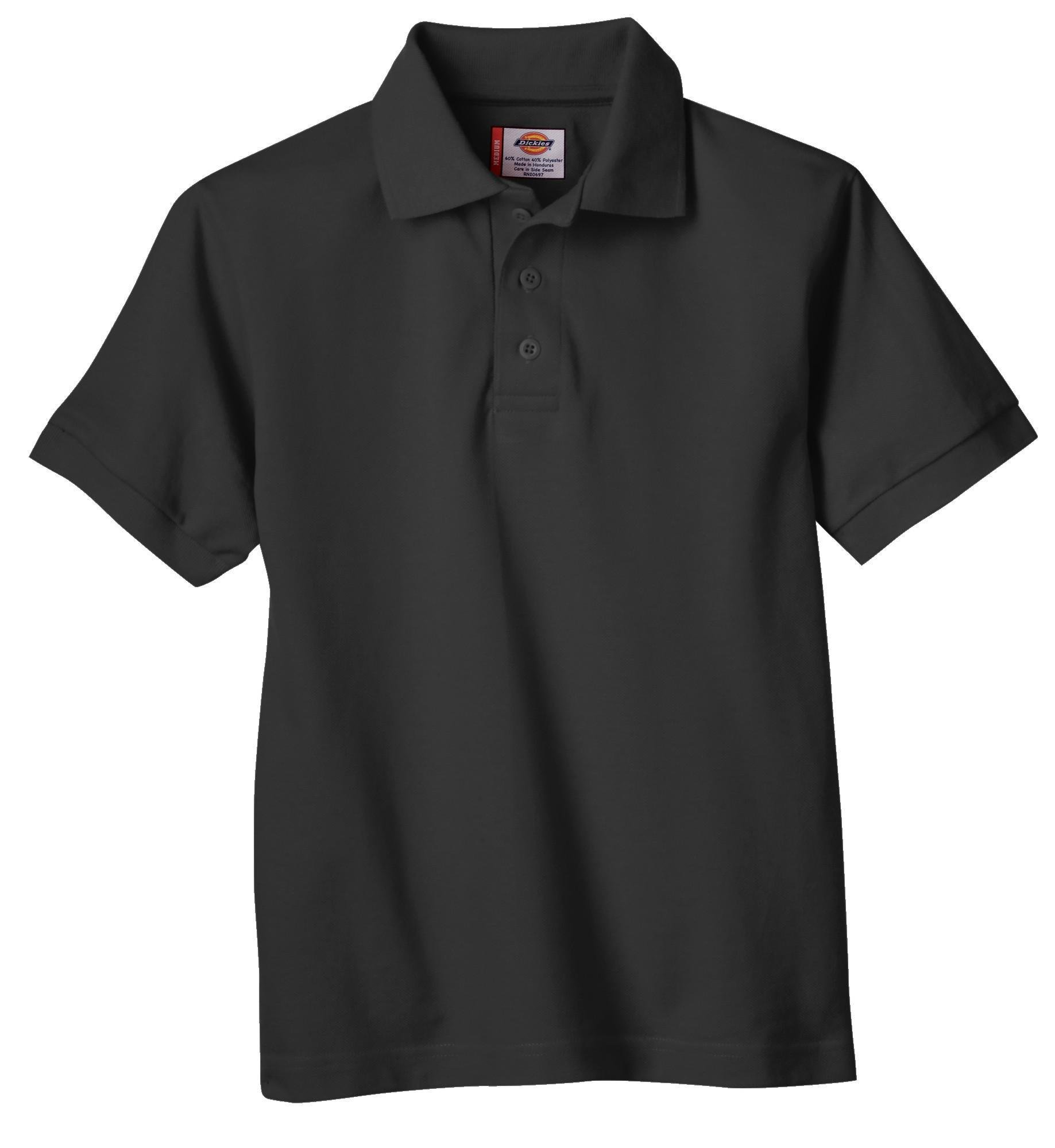 Dickies Little Boys' Short Sleeve Pique Polo Shirt, Black, Large