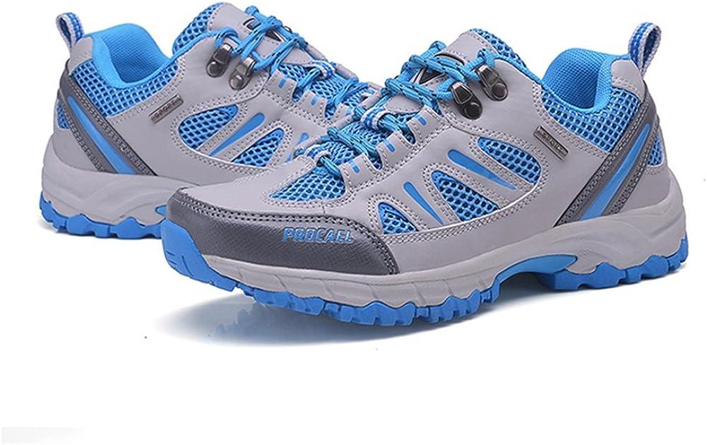 Fexkean Chaussures de Randonnée Basses Cuir Respirant Chaussures Baskets Sport Running Trail Outdoor Femme Homme Bleu Clair