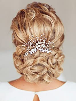 Aukmla Wedding Hair Combs with Bead and Rhinestones