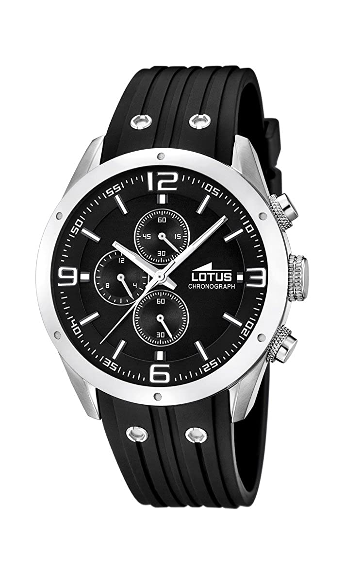 7fc4d525e Lotus Men's Quartz Watch with Black Dial Chronograph Display and Black  Rubber Strap 15969/4: Amazon.co.uk: Watches