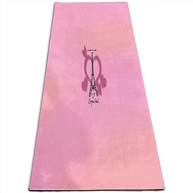 Amazon Com Yoga Mat Bonjour Paris Eiffel Tower Pink