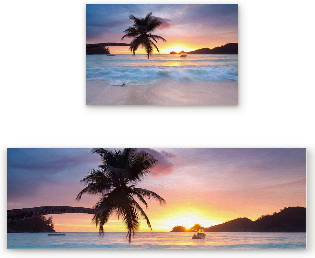 Infinidesign 2 Piece Kitchen Mat Non-Slip Floor Mat Rugs Doormat Runner Tropical Seascape Beach Coconut Tree Sunset 19.7×31.5in 19.7×47.2 inches