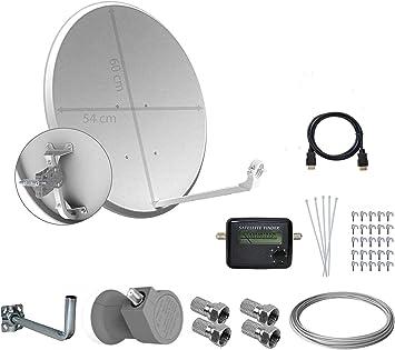 Tecatel Kit parabólica 60 cm, soporte, LNB universal, cable, conectores, grapas, bridas y buscador (25 Metros)