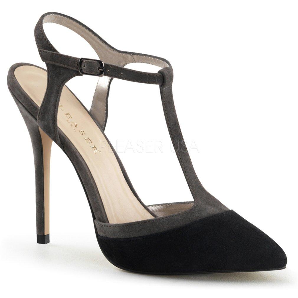 Pleaser Women's Amuse 17 Strappy Comfort Fashion Sandals B00JEXZ8YC 10 B(M) US Black Grey Suede