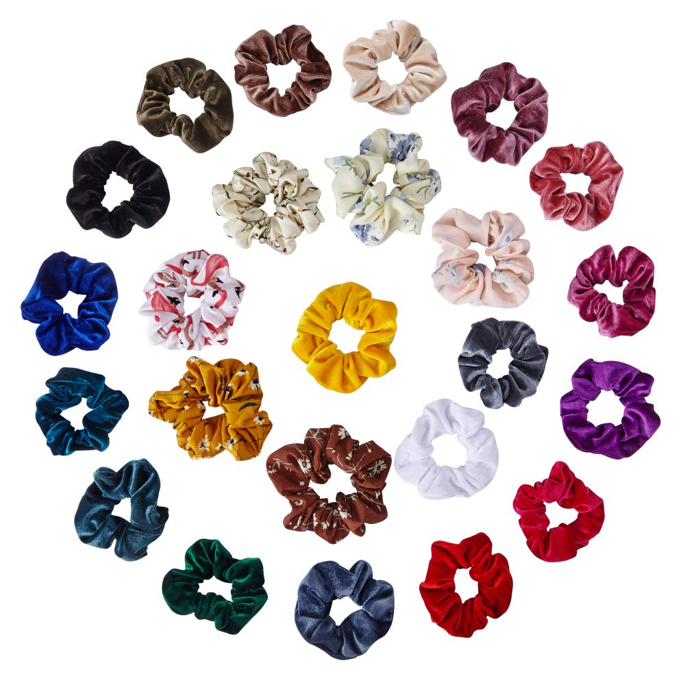 Scrunchies for Hair, Phinicco 24 Pcs Velvet Hair Scrunchies & Chiffon Scrunchies, Elastic Scrunchies for Women, Assorted Hair Ties, Girls Stylish Hair Accessories