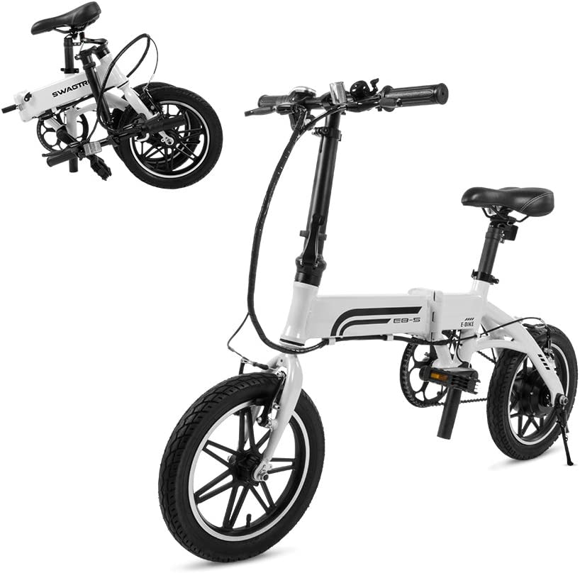 SwagCycle EB-5 Pro Lightweight and Aluminum Folding EBike with Pedals, Power Assist, and 36V Lithium Ion Battery Electric Bike with 14 inch Wheels and 250W Hub Motor