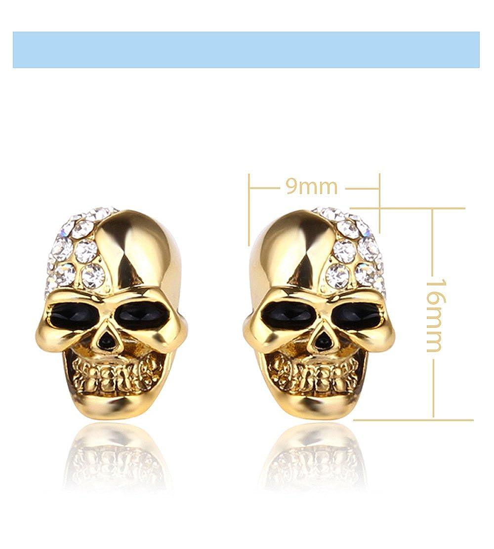 Stainless Steel Skull Stud Earring Mans Womens CZ Crystal Hip Hop Punk Earrings