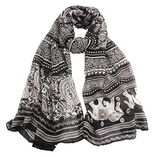 Qingfan Lightweight Scarves: Fashion Stylish Soft Silk Chiffon Scarf Wrap Long Soft Ladies Neck Stole Elephant Print Shawl For Women Girls (D)