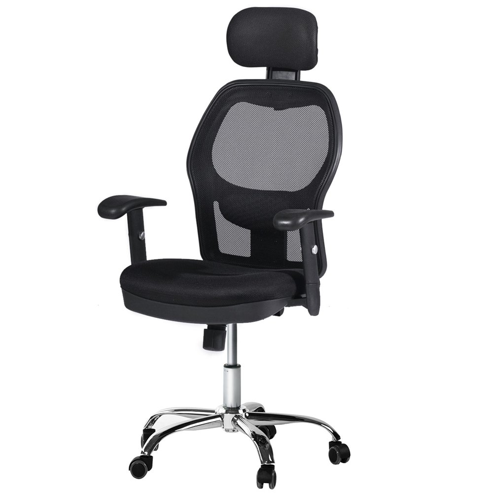 CCTRO High Back Mesh Office Chair with Headrest and Armrest, 360 Degree Swivel Executive Computer Desk Task Chair with Adjustable Lumbar Support Height and Depth