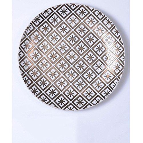 LWJGSA Creative Personality Ceramic Fruit Plate Round Flat Western-Style Food Steak Nordic Style Breakfast Tray Golden Rice ()