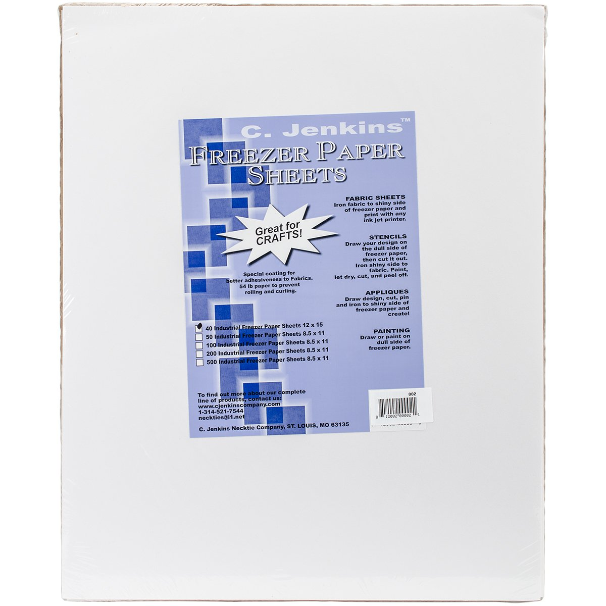 C. Jenkins Freezer Paper Sheets, 12 by 15-Inch, 40 Per Package