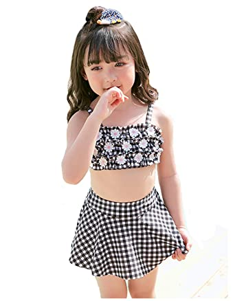 0acc6cf72 little dragon pig Black Two Piece Swimsuit Baby Girl Swimwear Flower Dress Bathing  Suit 12-