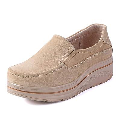 de792635dd Amazon.com   JOYBI Women Round Toe Flat Walking Shoes Suede Breathable  Comfort Slip-on Fashion Casual Platform Loafers   Loafers & Slip-Ons