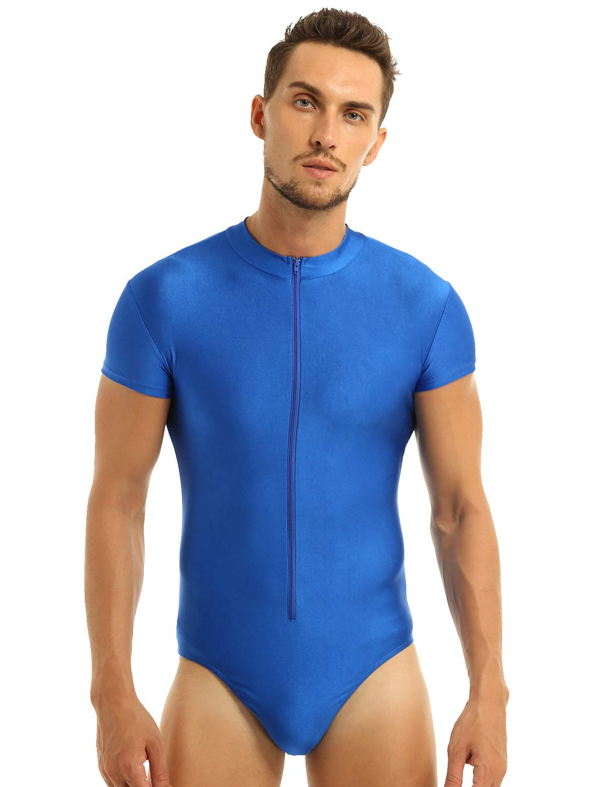 inhzoy Men's Short Sleeve Zipper Front Ballet Dance Leotard One Piece Gymnastics Bodysuit Blue Medium by inhzoy
