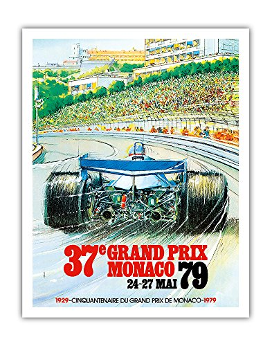 37th Grand Prix Monaco 1979 - Formula One Auto Racing - Vintage Sports Poster by Alain Giampaoli c.1979 - Fine Art Print - 11in x 14in