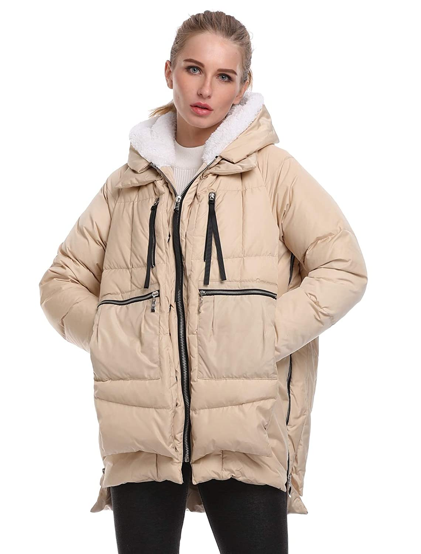 Beige FADSHOW Women's Winter Down Jackets Long Down Coats Warm Parka with Hood