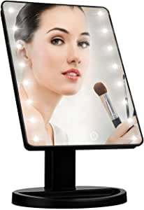 Led Makeup Vanity Mirror with 16 lights, Smart Touch Screen, 180°Adjustable Rotation, Dual Power Supply, Magnifying Desktop Travel Cosmetic Mirror(Black)