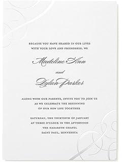 Amazon gartner studios wedding invitations cards platinum gartner studios silver foil swirls invitations white 50 ct 16120 m4hsunfo