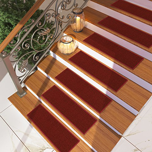([Set of 7] Burgundy Solid Color Stair Tread Rugs | Modern Design Carpet Treads [Easy to Clean] Rubber Non-slip Non-skid Backing | Nylon Low Pile 9