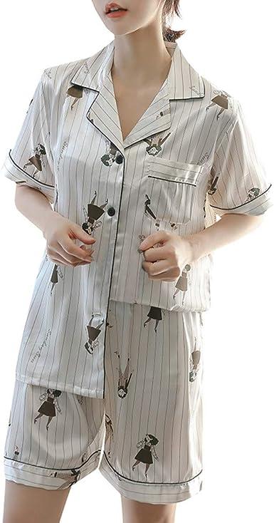 ACEBABY Pijama Camiseta y Pantalones Mujer Conjunto de Dos Piezas de Pijamas de Mujer Mujer Pijama de Algodón con Estampado: Amazon.es: Ropa y accesorios
