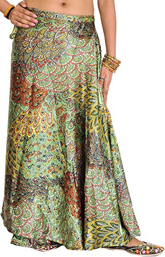 Exotic India Wrap-Around Long Skirt with Printed Flower - Color Grass Green