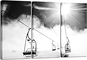 LevvArts 3 Piece Canvas Wall Art Black and White Ski Lift at Sunshine Pictures Winter Snow Mountain Landscape Canvas Painting for Home Living Room Decor Framed Ready to Hang