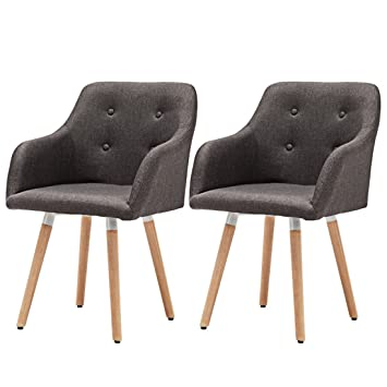 Set Of 2 Auspicious Life Fabric Dining Chairs Retro Armchair Leisure Chairs  Padded Seat With Wooden