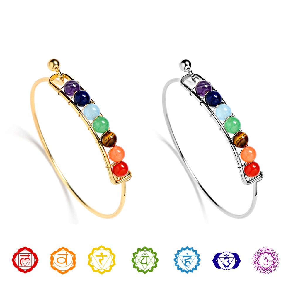 Coco Fashion 7 Chakra Bangle for women with Natural Gemstone for Health, Silvery and Golden Surface (Gold)