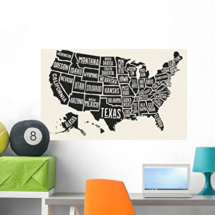 Poster Map United States Wall Mural Wallmonkeys Peel and Stick Vinyl  Graphic (36 in W x 24 in H) WM376332