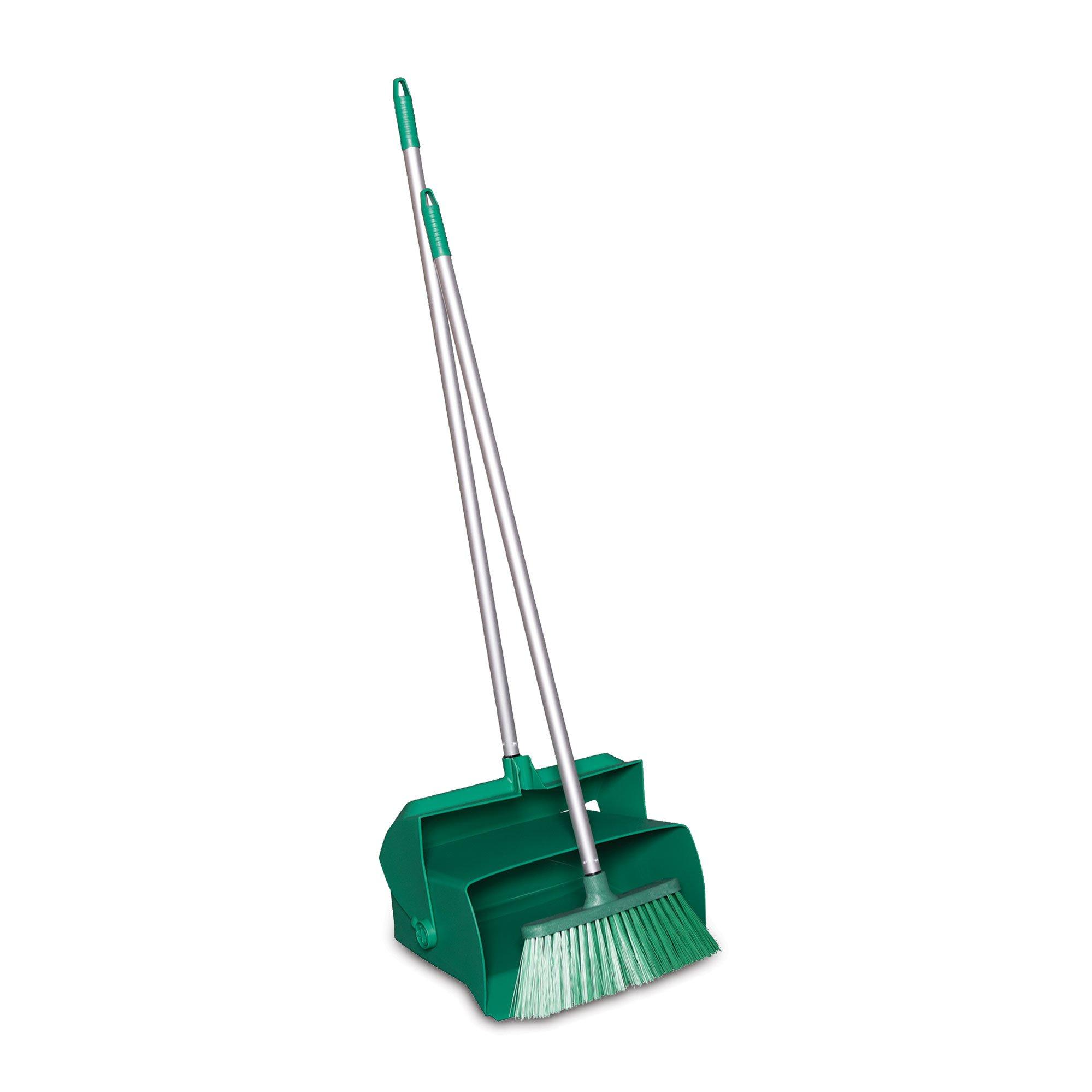 Remco 62502 Lobby Dustpan with Broom, Polypropylene/Polyester/Aluminum, 7'' X 14'' Bin, 37'' Handle, Green