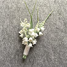 WeddingBobDIY Artificial Lily Of The Valley Flower Groom Boutonniere Buttonholes Groomsman Wedding Flowers Accessories Man Party Suit Decoration White